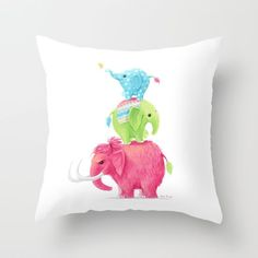 Art Print featuring Elephants by Freeminds Elephant Throw Pillow, Throw Pillows, Throw Rugs, Elephant Home Decor, Elephant Canvas, Dinosaur Nursery, Thing 1, Kids Poster, Canvas Prints