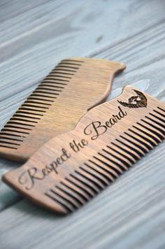 Respect the beard wooden comb Custom engraved For men for him Beard comb…