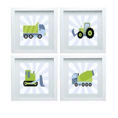 Construction Nursery Decor Dump Truck Cement truck Bulldozer Green Blue Baby Boy Room Decor Set of 4- 10x10 Prints Kids Room Decor