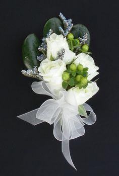White Spray rose, Green Hypericum and Blue Stream Limonium Corsage Wildflower Bridal Bouquets, Bride Bouquets, Prom Flowers, Bridal Flowers, White Spray Roses, White Roses, Corsage And Boutonniere, Flower Corsage, White Corsage
