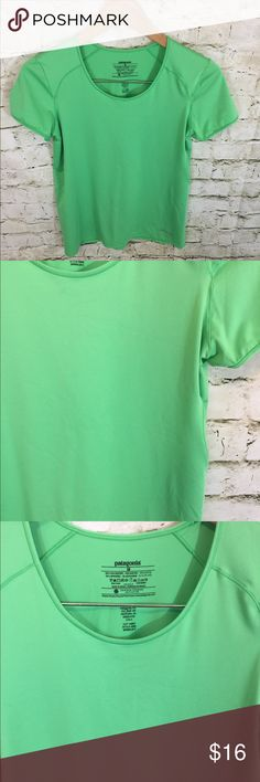 """Patagonia Common Threads Initiative Athletic Shirt Patagonia Common Threads Initiative Athletic Shirt Size medium Material: 84% polyester, 16% spandex Green Lightweight and great for active wear Short sleeve Measurements approximate: Pit to pit: 16"""" Sleeve length (shoulder to end of sleeve): 5"""" Shoulder to bottom (total length): 24"""" Patagonia Tops"""