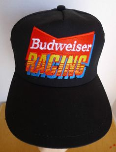 5cfc7891b1faa Budweiser Racing Adjustable Snap back Hat Cap Black w Embroidered Logo 1990s