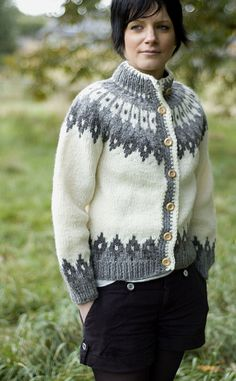 Luxury Hand-Knitted Icelandic Cardigan, 'Sveinsson' by Scotweb Hand-Knit Icelandic Woollens from Scotland
