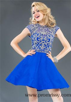 Colors:Royal/Silver Fabric:Beaded,Taffeta This Jovani 89466 dress features high cut neckline with cap sleeves and beaded straps,lower back zipper.