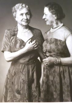 Helen Keller and Mrs. Thompson, her companion and helper in later life.