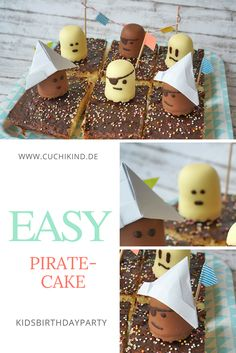 Zum Abschied ein Piratenkuchen Pirate cake for the next birthday party from Fantakuchen and chocolate man. With small paper hat and pennant chain. Easy Pirate Cake, Low Fat Cookies, Home Meals, Different Diets, Cake Blog, Different Vegetables, Birthday Treats, Delicious Fruit, Homemade Cookies