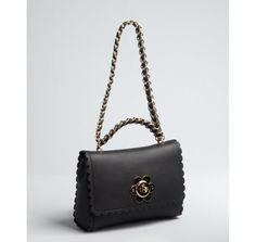 Mulberry black leather scalloped flower mini shoulder bag