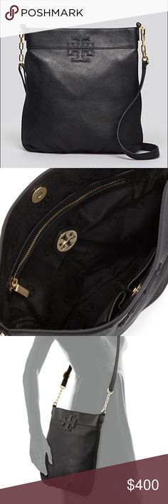 Tory Butch Crossbody Purse Tory Burch black Crossbody purse with gold chain detail. Barely used (3-4 times max). In excellent condition with no signs of wear.  A tonal logo adds elegant branding to a glazed, pebbled-leather bag topped with an adjustable strap. Magnetic-snap closure. Interior zip, wall and cell-phone pockets. Logo-jacquard lining Leather More pics and details/ measurements to come. Tory Burch Bags Crossbody Bags