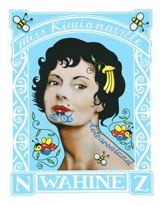 aotearoaland, Wahine, Lester Hall, Artist, Bay of Islands, Kiwiana Series