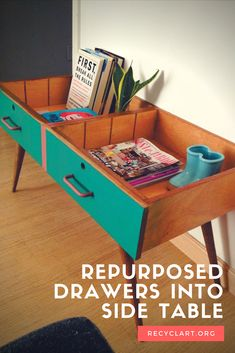 This is one of the most spectacular reuses of old drawers I've seen. Simple and effective to give a 50's …