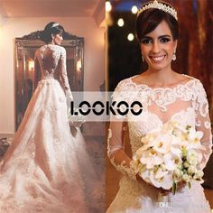 Spring Fall Long Sleeves Lace A Line Wedding Dresses Modest Arabic Cut Out Back…