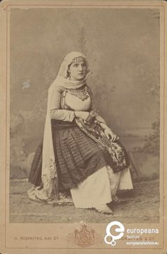 """Photo B/W photo of a woman with local costume from Salamina, Greece. ΜΩΡΑΪΤΗΣ ΚΑΙ ΣΙΑ"""", """"P. Greek Traditional Dress, Old Greek, Greek Culture, The Uncanny, Photographs Of People, Photo B, Occult, Old Photos, Art History"""
