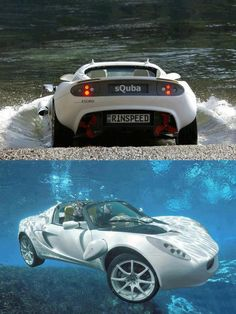 World First Underwater Car.  The sQuba, developed by Swiss company Rinspeed, is the world's first car that can be driven both on land and under water.