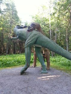 Dinosaurs plus Jesus In the neck of the brontosaurus in Dinosaur