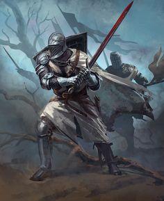 ArtStation - Teutonic Knight for Joan of Arc by Mythic Games, Catalin Lartist Medieval Knight, Medieval Armor, Medieval Fantasy, Fantasy Character Design, Character Art, Armor Concept, Concept Art, Crusader Knight, Armadura Medieval