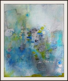 Coastal  Beach Inspired Abstract RENEW in blues greens by JodiOhl, $375.00  new original in the shop