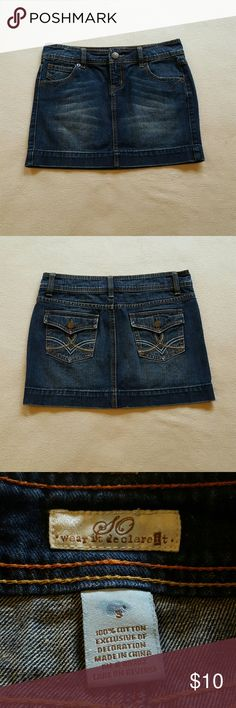 "SO jean mini skirt. Jean mini skirt, nice sturdy material, 13"" long. SO Skirts Mini"