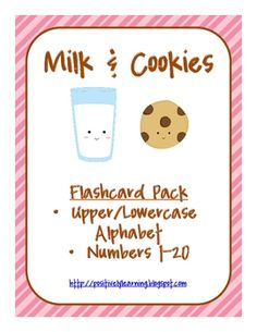 Free!! Milk & Cookies! Match adorable printable flashcards numbers and letters! Fun reinforcer!