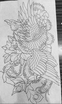 Japanese Phoenix Tattoo, Phoenix Back Tattoo, Tribal Phoenix Tattoo, Small Phoenix Tattoos, Japanese Flower Tattoo, Tribal Sleeve Tattoos, Tattoos Skull, Irezumi Tattoos, Japanese Sleeve Tattoos