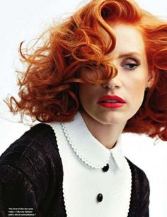 jessica chastain, hair colors, red hair, chemistry, earth tones, films, redhead, black, actresses