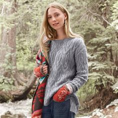 """LARKIN PULLOVER--An ode to Celtic knots and timeless knit patterns, our long, cable-knit pullover sweater hits mid-thigh and is perfect with pants and leggings. Viscose/nylon/merino wool/alpaca. Hand wash. Imported. Exclusive. Sizes XS (2), S (4 to 6), M (8 to 10), L (12 to 14), XL (16). Front approx. 25""""L."""
