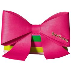 Betsey Johnson Big Bow Chic Large Bow Clutch (Multi) featuring polyvore, women's fashion, bags, handbags, clutches, pink bow purse, betsey johnson purses, pink clutches, zip purse and pink handbags
