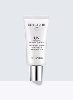 Crescent White, Full Cycle Brightening UV Protector SPF 50 - Ensure a brighter, spot-free future for your skin with a broad spectrum SPF 50 protector that creates a smooth base for makeup. Fortified with UVA/UVB protection, anti-oxidants and anti-irritants.