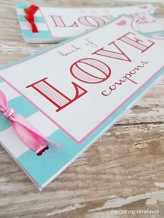 Perfect gift for your hubby... make a Love Coupon Book with 12 fantastic coupons! Tutorial w/ entire book printable for you to put together.Perfect!