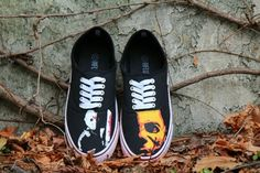Halloween Is right around the corner! Jason an Michael Myers Halloween inspired Hand Painted Shoes for sale! Blood splatter detail on the soles! Halloween Shoes, Hand Painted Shoes, Michael Myers, Make Time, Crafts To Make, Horror, Vans, Sneakers, Creative