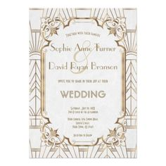 Gold Great Gatsby White Art Deco 1920s Wedding Card - wedding invitations diy cyo special idea personalize card
