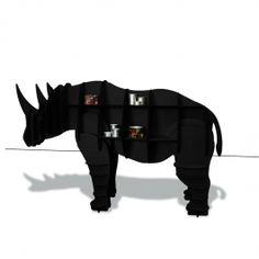 Estante Rinoceronte Kevin Preta - MDF Revestida com Madeira Natural