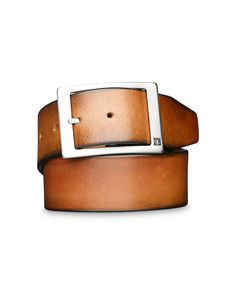 MARVIN belt - Men's belt in Italian leather. Features metal buckle with brushed silver finish with Tiger logo head. Width: 4.5 cm. Made in Italy