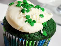 Green Velvet Cupcakes - Swap green food coloring for red in this easy and delicious red velvet cupcake recipe! You can make the batter in the food processor for easy clean-up.