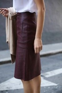 h burgundy bcbg a line leather skirt camel wrap coat vest lariat necklace spectator tory burch pumps work wear fashion style blog san francisco