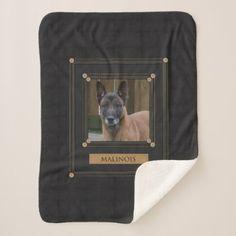 Add your Photo Malinois - Belgian shepherd - Sherpa Blanket - unusual diy cyo customize special gift