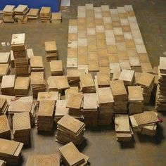 Preparing and cutting wood for end-grain flooring.  DIY and save money.