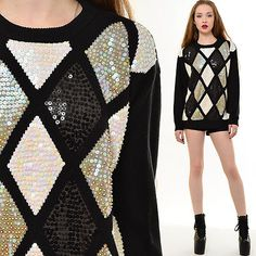 Vtg 80s Knit Oversized Sequin Argyle Holiday Sweater Jumper Trophy Top Slouchy | eBay