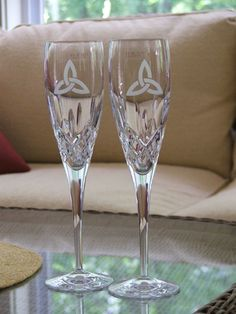 celtic wedding theme | Set of Two Celtic Trinity KInot Wedding Flutes Galway Irish Crystal