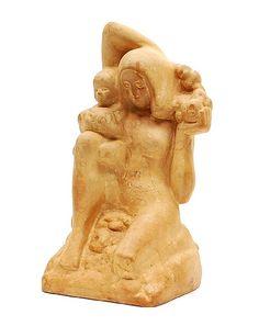 Found on www.botterweg.com - Earthenware sculpture Mother with child design Frans Werner 1879 - 1955 executed by Goedewaagen Gouda / the Netherlands ca.1925