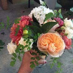 Garden roses, maiden hair, phlox, blackberry