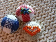 Dutch Folk - Embroidered Fabric Covered Buttons by Deepindigo