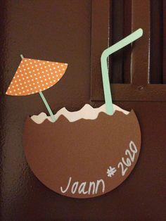 29 new ideas spring door decs summer Door Name Tags, Ra Door Tags, Dorm Themes, Cubby Tags, Dorm Door Decorations, Door Decks, Cruise Door, Balkon Design, Seaside Beach