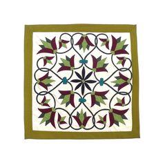 "Enchanted Flower II | Applique Art Wall Hanging Handstitched Egyptian Khayamiya Artist: Ashraf Hashem Size: Approximately 22"" X 22"" Title: ""Enchanted Flower II"" - Khayamiya Style: Handstitched Applique Art Origin: Imported from Egypt. Please visit us at: www.arkangallery.com"