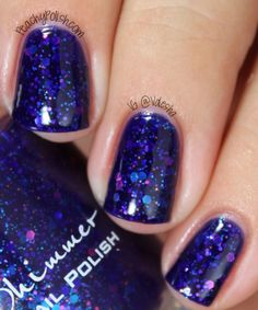 Kb shimmer Excuse me, I Blurpled-A shade not quite blue, not quite purple shade with glitters in many shades of blue, purple, with a hint of copper.Indie nail polish