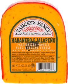 Habanero & Jalapeno Cheddar- Hottest of them all. Not fot he faint of heart. Liven up your taste buds with this dynamic combo of aged cheddar, habanero and jalapeno peppers.