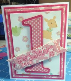 For my granddaughter's first birthday. ( handmade card, card, stampabilities, Cricut, Base Camp )