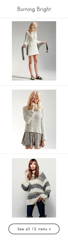 """""""Burning Bright"""" by freepeople ❤ liked on Polyvore featuring tops, sweaters, long sleeve tops, free people tops, mock neck pullover, chunky knit sweater, long sleeve sweater, white crop top, ribbed turtleneck sweater and cable-knit sweater"""