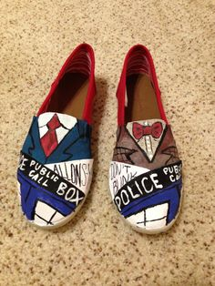 Custom Painted Doctor Who Canvas Shoes by WalkWithFlair on Etsy, $60.00