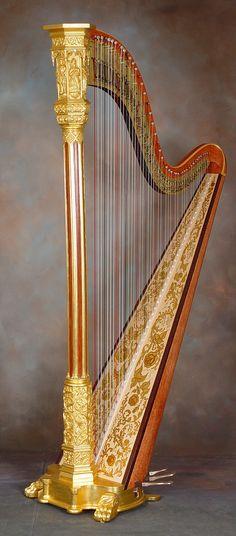 J.F. Browne harp, fully restored by H. Bryan & Co., custom art on the soundboard.