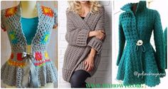 A Collection of Crochet Women Sweater Coat Cardigan Free Patterns: Crochet Open Front Sweater Coat, Button Up Sweater Coat, Zip Up Sweater Cardigan